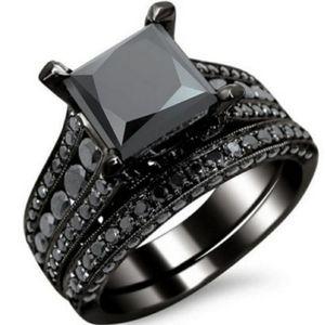 BLACK GRAY GOTHIC WEDDING BAND ENGAGEMENT RING SET